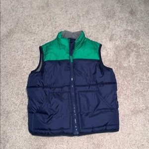 Old navy puffer vest, navy and green